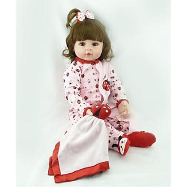 NPKCOLLECTION NPK DOLL Lalki Reborn Dziewczyna Lalki Dziewczynki 24 in Jak żywy Śłodkie Sztuczne brązowe oczy Dzieciak Dla dziewczynek Zabawki Prezent