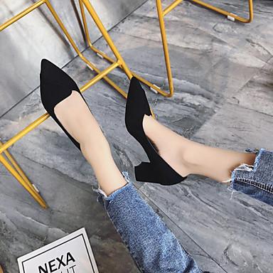 Camello Pump 06856867 Dedo Color Tacón Mujer Cuadrado Negro Básico Tacones PU Zapatos Puntiagudo Verano wFT7A