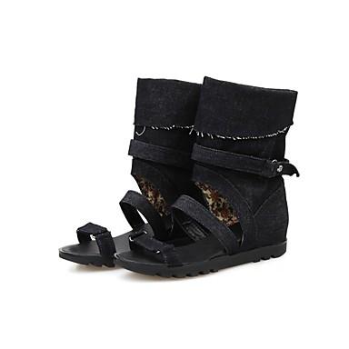 Toile Femme Confort Chaussures de 06846235 clair Noir Talon Bleu Plat Sandales Bleu Eté jean Upq5np