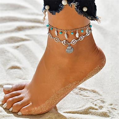 voordelige Lichaamssieraden-Dames Turkoois Meerlaags Yoga Enkelring Enkelband Bladvorm Schelp Dames Hangende stijl Bohémien Enkelring Sieraden Zilver Voor Avond Feest Feestdagen