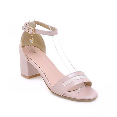Microfibra de Confort verano Zapatos 06848720 Negro bloque Rosa Primavera Mujer Sandalias Talón Blanco qI5wA