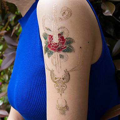 3 Pcs Tatuaggi Temporanei Serie Fiori - Serie Di Cartoni Animati Ecologico - Nuovo Design Arti Del Corpo Viso - Corpo - Braccio - Tatuaggi Temporanei Stile Decalcomania #06862380