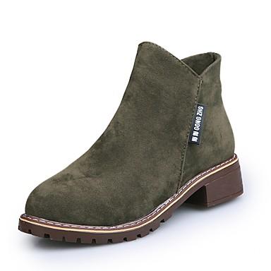 Botas hasta Botines PU Hasta Cuadrado Mujer Botas Ejército el invierno el Tacón Zapatos Tobillo Negro Tobillo Otoño Verde Morrón Oscuro 06848799 FAPfq8X