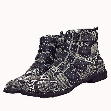 rond Talon Chaussures Bottine Demi Bout Gris Automne Combat de Boucle Bas Botte Femme Cuir Pleine 06864554 Couleur hiver Bottes boîtes Pqq8w