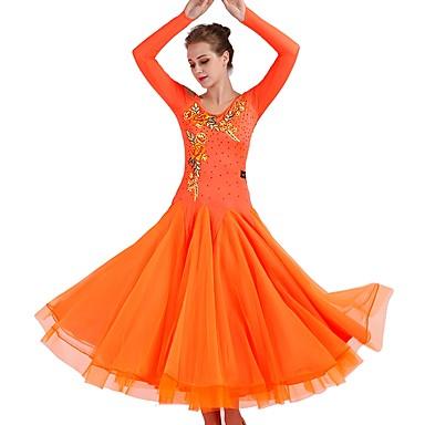 Für den Ballsaal Kleider Damen Leistung Elasthan / Organza Applikationen / Horizontal gerüscht / Kristalle / Strass Langarm Kleid