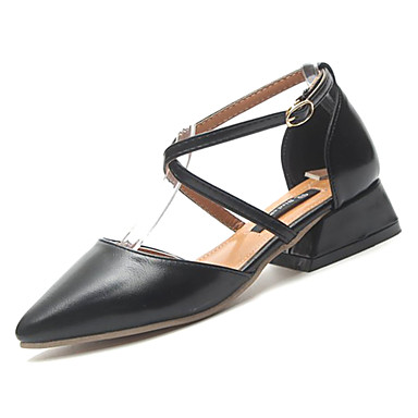 Zapatos Puntiagudo Verano Dedo Tacón Mujer PU Bajo Tacones Pump Marrón Beige 06856197 Negro Básico wqfTSB