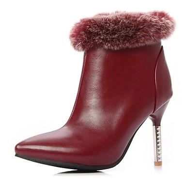hiver Femme Aiguille Talon Chaussures Noir Bottes Vin 06858122 Automne Polyuréthane Confort AAftrgw