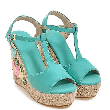 Women's Comfort Shoes Elastic Elastic Shoes Fabric Summer Sandals Wedge Heel Green / Blue / Pink d0464a