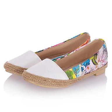 PU Azul Blanco cerrada Bailarinas Punta Tacón Primavera Zapatos Confort Rojo 06843315 Plano Verano Mujer vB675qwz