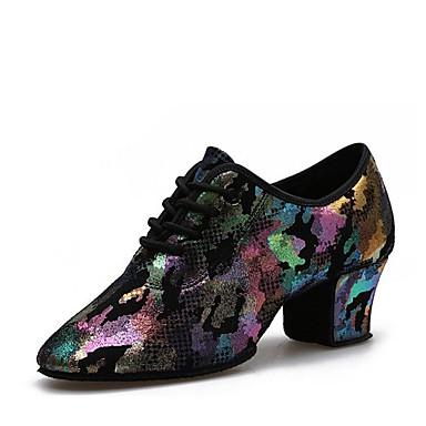 baratos Shall We® Sapatos de Dança-Mulheres Sapatos de Dança Pele Sapatos de Dança Moderna Salto Salto Grosso Personalizável Roxo / Amarelo / Espetáculo