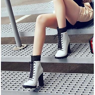 06845246 Gemelo Punta Cuadrado de Mitad Botas Negro PU invierno Blanco cerrada Confort Otoño Tacón Mujer Zapatos Rojo wSqaAg