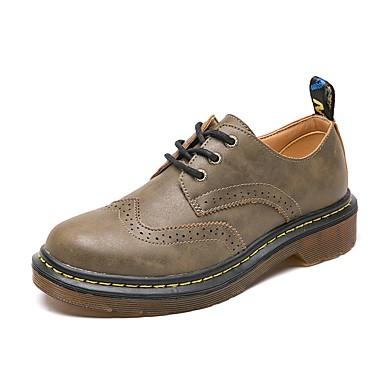 Talon Plat 06864986 rond Brun Oxfords Brun Confort été Printemps Cuir Femme Noir Foncé Bout Chaussures claire gS0wxYqCC