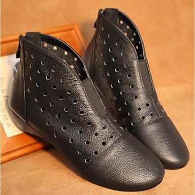 Confort de Automne Printemps semelle Chaussures Amande Botillons amp; Hauteur Bottes Blanc 06846191 Noir Cuir Femme Nappa compensée qYSwvYX