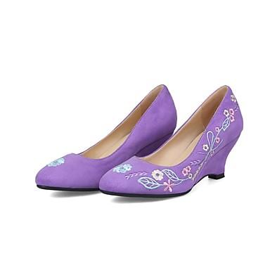 Chaussures Automne Talons Chaussures semelle Escarpin Daim Rouge de 06841049 compensée Femme Violet Hauteur Noir Basique à wEX0qEd