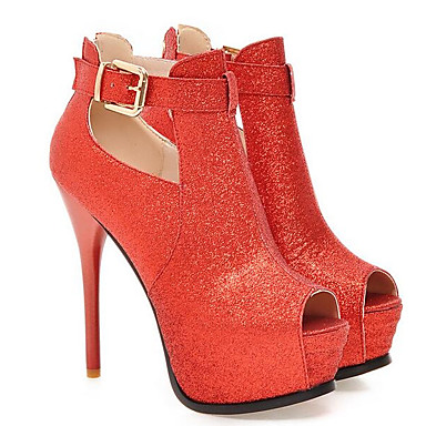 Plata 06841741 Rojo Primavera Stiletto Tacones PU Tacón Zapatos Negro Mujer Confort f4vW8q