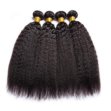 baratos Extensões de Cabelo Natural-4 pacotes Cabelo Brasileiro Yaki 8A Cabelo Humano Cabelo Humano Ondulado Extensor Cabelo Bundle 8-28 polegada Côr Natural Tramas de cabelo humano Sedoso Suave Melhor qualidade Extensões de cabelo
