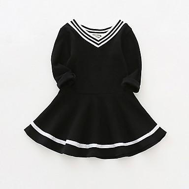b2fc7b2b0a8 Μωρό Κοριτσίστικα Ενεργό Ριγέ Μακρυμάνικο Πολυεστέρας Φόρεμα Ανθισμένο Ροζ