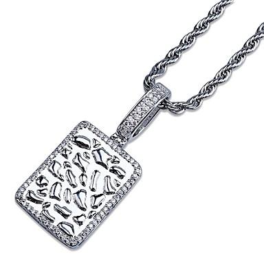 Herr Kubisk Zirkoniumoxid Vintage Stil   Trendig Hänge Halsband - 18K  Guldpläterad c79b1c1a6c920