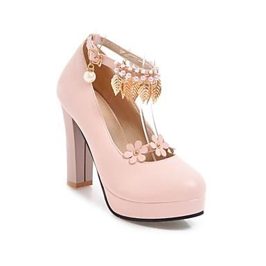 Women's Comfort Shoes PU(Polyurethane) Spring & Summer Heels Chunky Heel White White Heel / Black / Pink 2df350