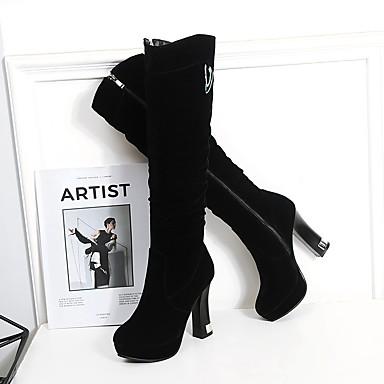 rond Mode Chaussures Bottes la Noir Microfibre Talon Bottes Femme Bottes 06856893 Automne Bout Bottier à hiver xcT0qw147f
