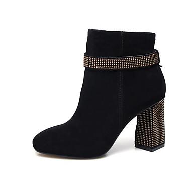de Brun 06849868 claire Mode mouton à Bottes Peau Heel Bottes Femme Chaussures Noir Block la Confort Automne AqCEwE6nax