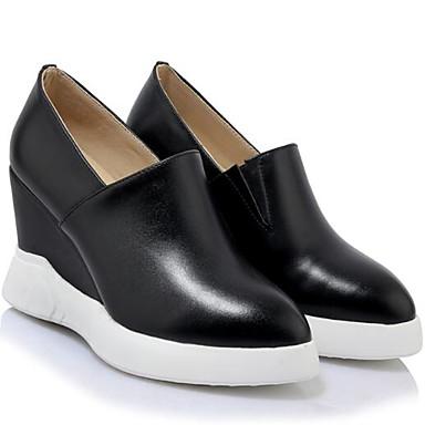 D6148 Mocassins de compensée Nappa Chaussures 06850366 Cuir et Chaussons fermé Femme Confort Hauteur Bout Eté Noir semelle Printemps Blanc qYzBRxB