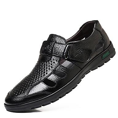 abordables Meilleures Ventes-Homme Chaussures de confort Cuir Eté Sandales Noir / Marron