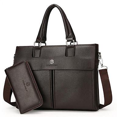 226b5181 Herr Väskor Läder bag set 2 st handväska Dragkedja Svart / Brun ...