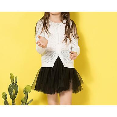 baratos Suéteres & Cardigans para Meninas-Infantil Para Meninas Básico Diário Sólido Manga Longa Padrão Suéter & Cardigan Branco