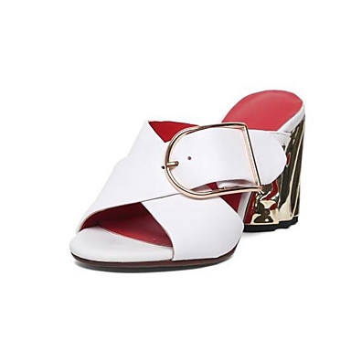 Women's Nappa Leather Summer / Casual Sandals Chunky Heel White / Summer Black e55ab2