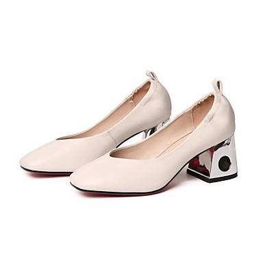 Beige 06848811 Marron Eté Chaussures Confort Nappa Noir Femme Talon Talons Escarpin Cuir Basique à Chaussures Bottier OgqBZwf