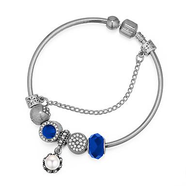 baratos Bangle-Mulheres Bracelete Fashion Flor senhoras Vintage Europeu Fashion Imitação de Pérola Pulseira de jóias Azul Escuro / Vermelho / Azul Claro Para Festa / Resina / Strass