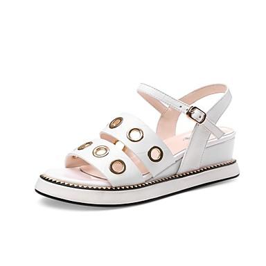 Blanc Talon été Plat 06848602 Femme Chaussures Cuir Nappa Printemps Noir Sandales Confort q1wpzO6xw
