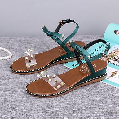 Tacón PU en Cuña Mujer Tobillo Sandalias Verde el Hebilla 06857223 Tira Zapatos Verano Negro q5x5w8g6