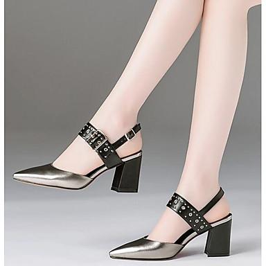 Confort Chaussures Talons Argent Eté Nappa Noir Chaussures Cuir Or à Bottier Talon 06840918 Femme IU1wSq7