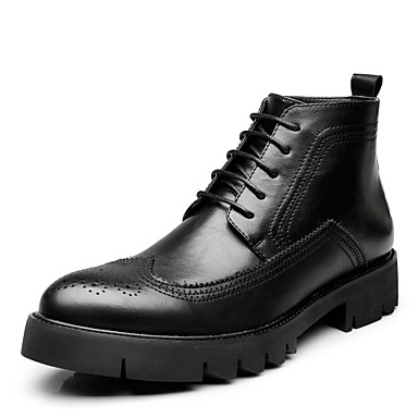 cheap Featured Deals-Men's Fashion Boots Faux Leather Fall & Winter British Boots Height-increasing Booties / Ankle Boots Black / Brown