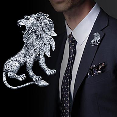 abordables Epingles & Broches-Homme Broche Le style rétro Tendance Lion Rétro Vintage Mode British Broche Bijoux Dorée Argent Pour Quotidien Vacances