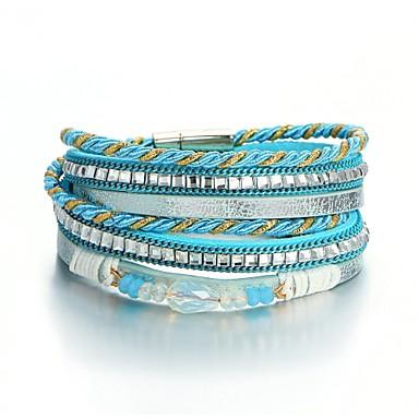 billige Motearmbånd-Dame Sjal Armbånd Retro Bånd damer Mote folk Style Stein Armbånd Smykker Blå Til Daglig