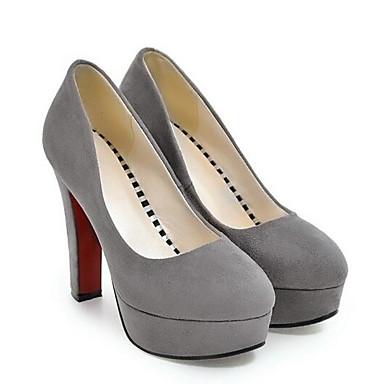 Mujer Tacones Zapatos Ante Tacón Primavera Confort Stiletto 06862590 Rojo Negro Gris 11dwqIr