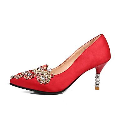 Femme Printemps été mariage Talon Aiguille Satin de Chaussures Chaussures Confort Rouge 06848500 x7nwx