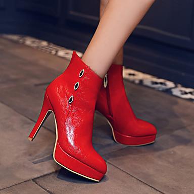 la hiver Bottes Bottine Aiguille Mode Bottes à Botte Noir Talon Automne Polyuréthane Gris pointu Strass Chaussures Femme Rouge Bout 06858865 Demi tIYAq1wx