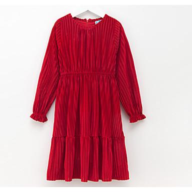 Χαμηλού Κόστους Φορέματα για κορίτσια-Παιδιά Κοριτσίστικα Βασικό Καθημερινά Μονόχρωμο Με Κορδόνια Μακρυμάνικο Ως το Γόνατο Βαμβάκι Πολυεστέρας Φόρεμα Ρουμπίνι