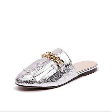 Women's Shoes Microfiber Mules Summer Comfort Clogs & Mules Microfiber Flat Heel Closed Toe Gold / Black / Silver 750e76