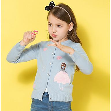 baratos Suéteres & Cardigans para Meninas-Infantil Para Meninas Básico Sólido Estampado Manga Longa Algodão Suéter & Cardigan Rosa