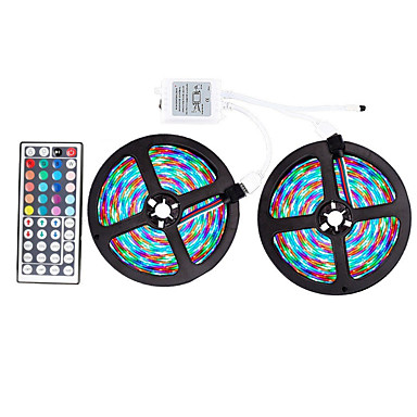 billige LED Strip Lamper-ZDM® 2x5M Lyssett / RGB-lysstriper 600 LED SMD 2835 / 2835 SMD 1 44Kjør fjernkontrollen RGB Kuttbar / Fest / Dekorativ 12 V 1set / IP65 / Selvklebende