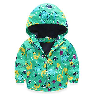 baratos Camisas para Meninos-Infantil Bébé Para Meninos Activo Moda de Rua Diário Escola Estampado Manga Longa Padrão Algodão Blusa Verde