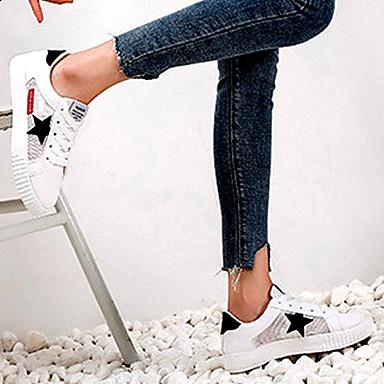 Primavera Zapatos Dedo Cuero Rosa 06856982 redondo Negro Tacón de Mujer Zapatillas Plano Confort deporte Sintético Malla IqId1