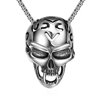 billige Mote Halskjede-Herre Anheng Halskjede Elegant Hodeskalle Mote initial Satanic Titanium Stål Volframstål Sølv 61 cm Halskjeder Smykker 1pc Til Gave Daglig