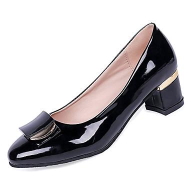 Women's Pumps Chunky PU(Polyurethane) Fall Minimalism Heels Chunky Pumps Heel Pointed Toe Black / Beige d6ce1e
