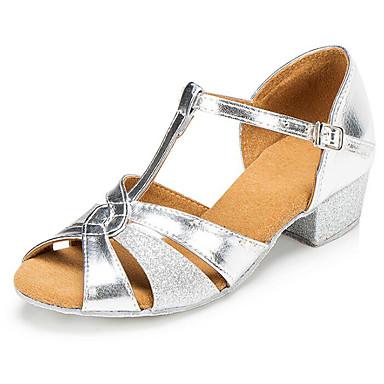 baratos Shall We® Sapatos de Dança-Para Meninas Sapatos de Dança Couro Ecológico Sapatos de Dança Latina Salto Salto Grosso Dourado / Prata / Espetáculo / Ensaio / Prática